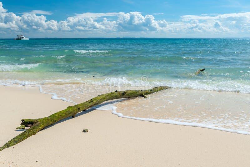 Vistas imponentes de la onda del mar y de una vieja conexión la playa arenosa fotografía de archivo