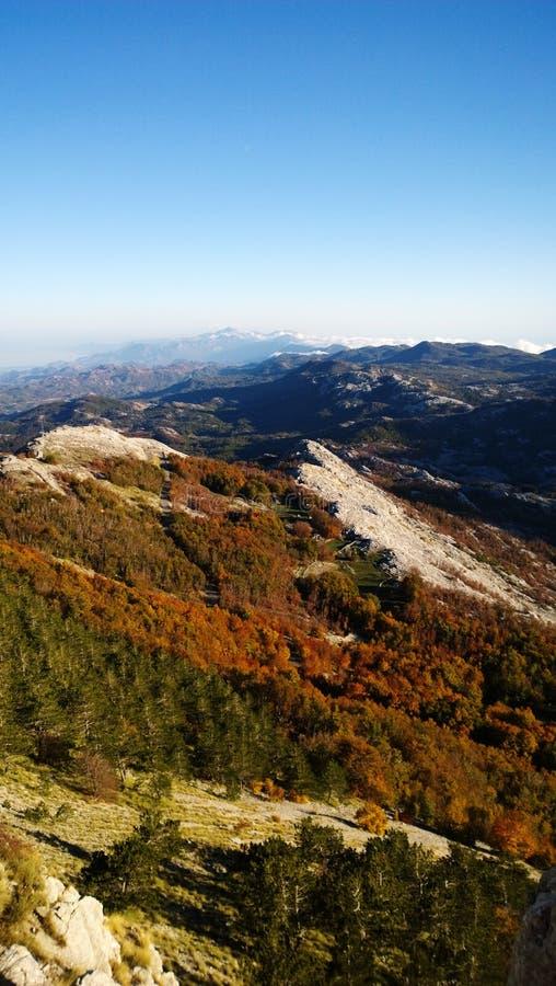 Vistas increíbles de la naturaleza del otoño en Lovcen en Montenegro - las hojas de otoño y las montañas en la distancia Visión v fotografía de archivo