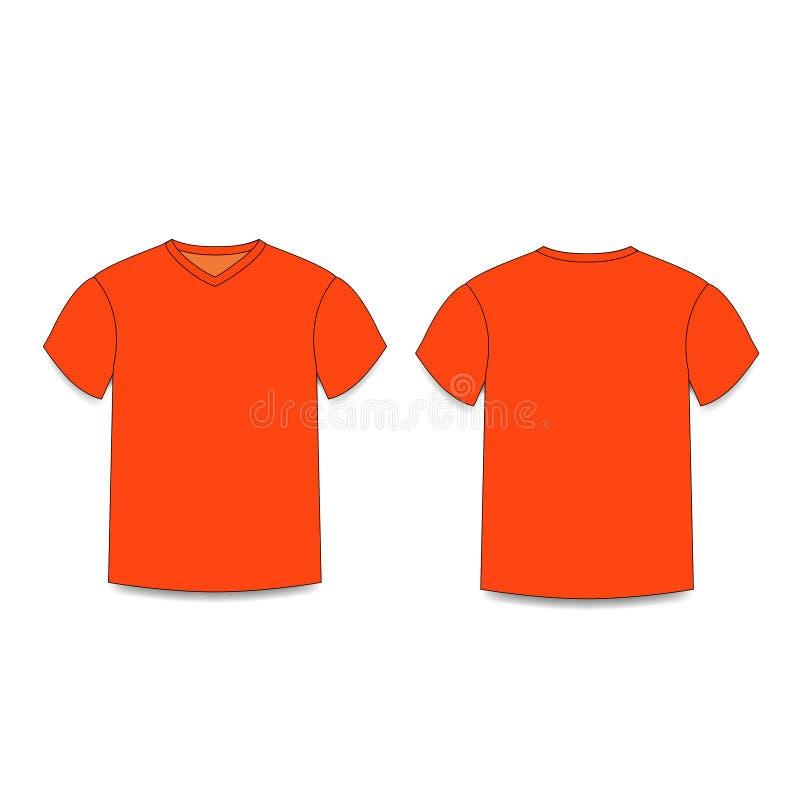 Vistas laterales delanteras y traseras de los hombres del ` s de la camiseta del cuello en v anaranjado de la plantilla libre illustration