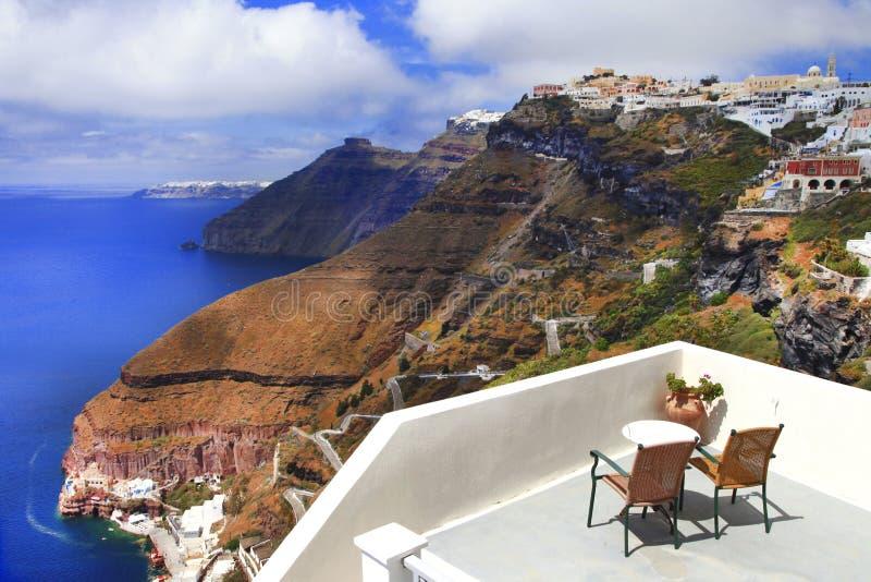 Vistas lindos do caldera na ilha de Santorini Feriados gregos fotos de stock