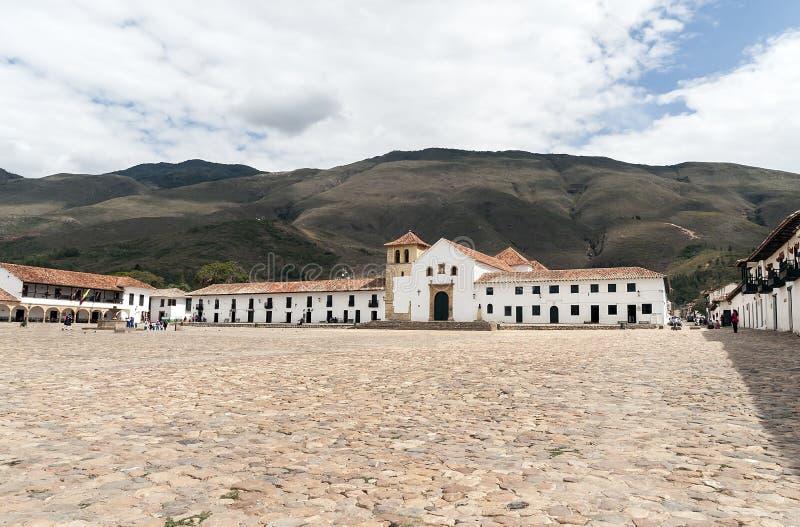 Vistas panorâmicas do quadrado principal de Casa de campo de Leyva no ¡ de Boyacà imagens de stock royalty free
