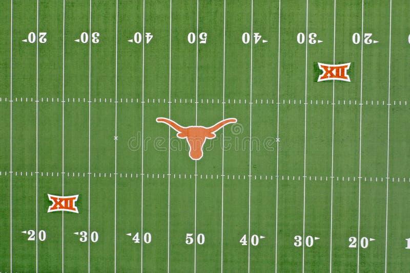 Vistas a?reas do Darrell K Royal-Texas Memorial Stadium no terreno da Universidade do Texas imagens de stock royalty free