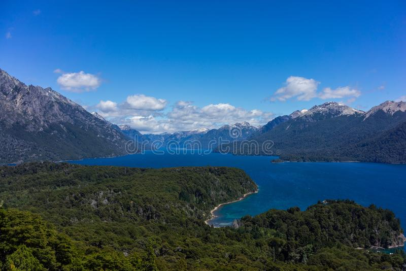 The mountains and lakes of San Carlos de Bariloche, Argentina. Vistas of San Carlos de Bariloche, Argentina South America. Patagonia royalty free stock photography