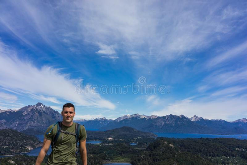 A tourist in the mountains and lakes of San Carlos de Bariloche, Argentina. Vistas of San Carlos de Bariloche, Argentina South America. Patagonia stock photography