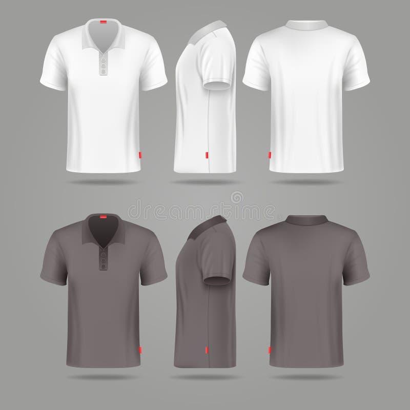 Vistas traseras y laterales del polo del frente para hombre negro blanco de la camiseta ilustración del vector