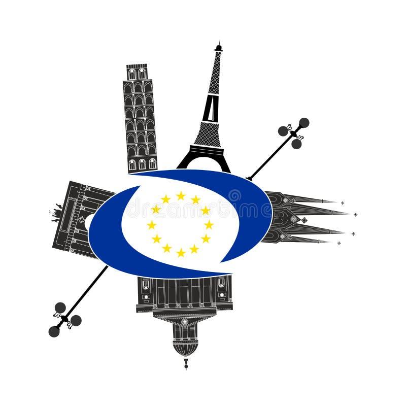 Vistas y bandera de Europa stock de ilustración