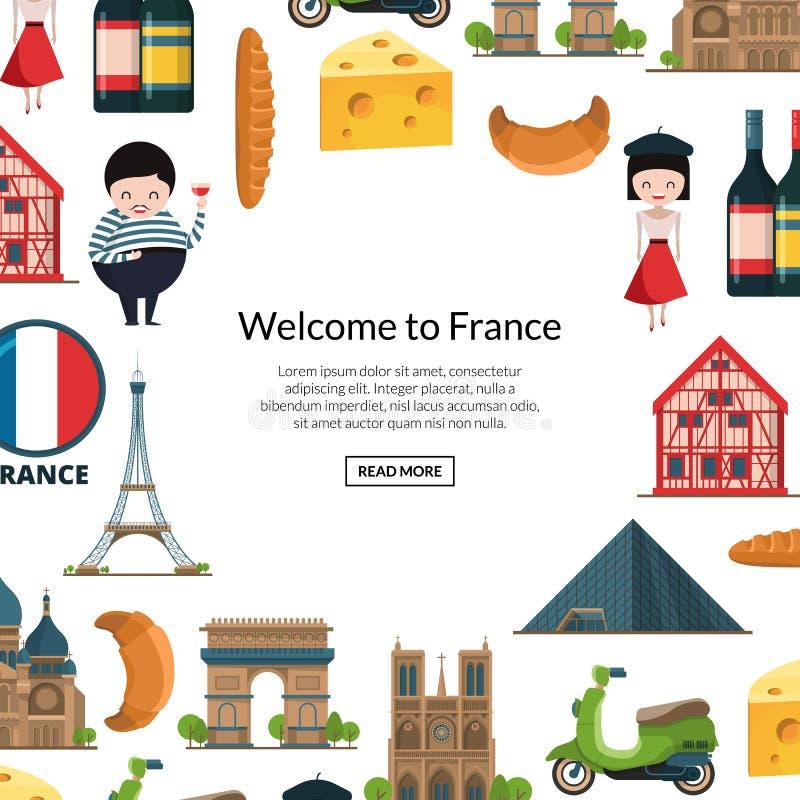 Vistas y objetos de Francia de la historieta del vector libre illustration