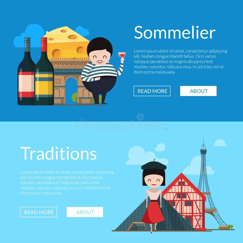 Vistas y objetos de Francia de la historieta del vector stock de ilustración