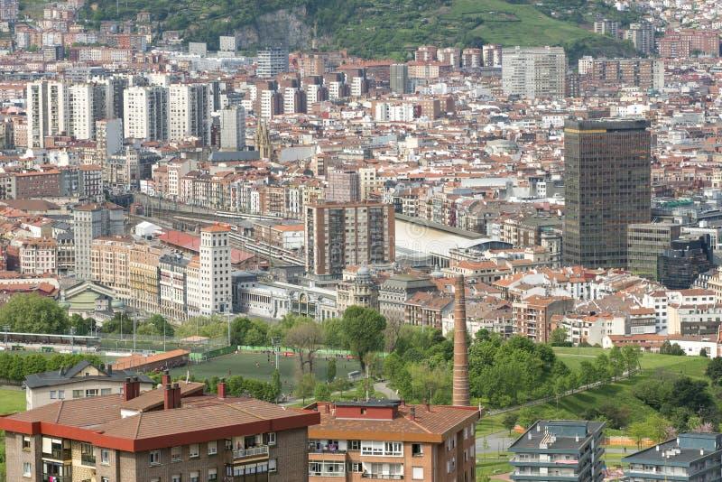 Viste aeree del centro urbano Bilbao, Bizkaia, paese basco, stazione termale immagini stock libere da diritti