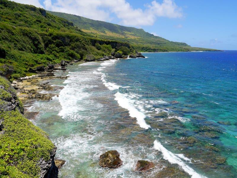 Viste costiere sceniche di Rota, CNMI fotografie stock libere da diritti