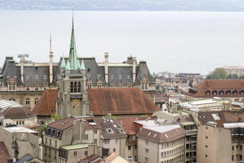 Viste dalla torretta della cattedrale, Losanna, lago Ginevra, maggio 2006 fotografia stock