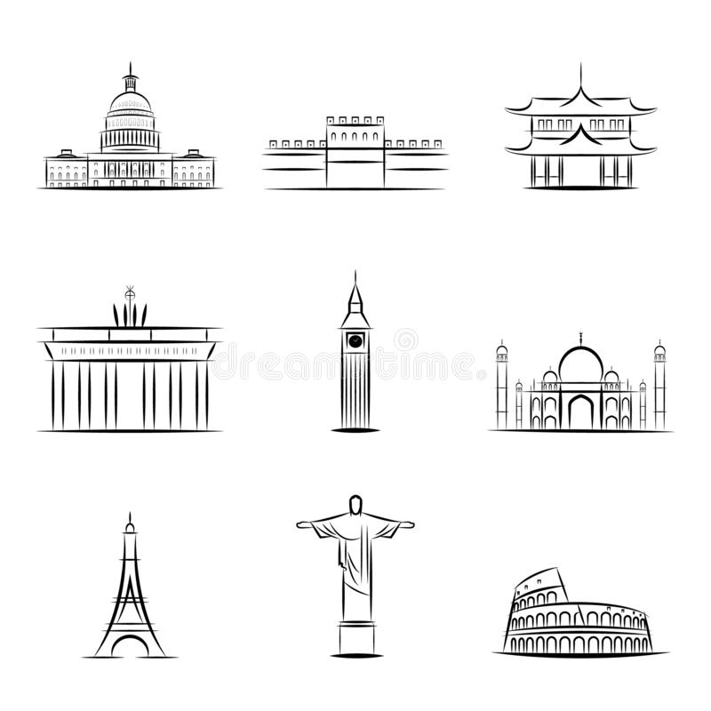 Viste dei paesi del mondo Costruzioni e monumenti famosi dei paesi e delle città differenti Icona dei paesi illustrazione di stock