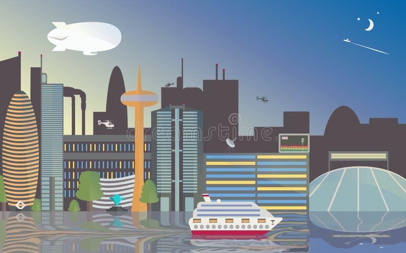 Viste della città della città Lo stadio, i grattacieli e la torre della TV hanno riflesso nel fiume La nave è in porto illustrazione di stock