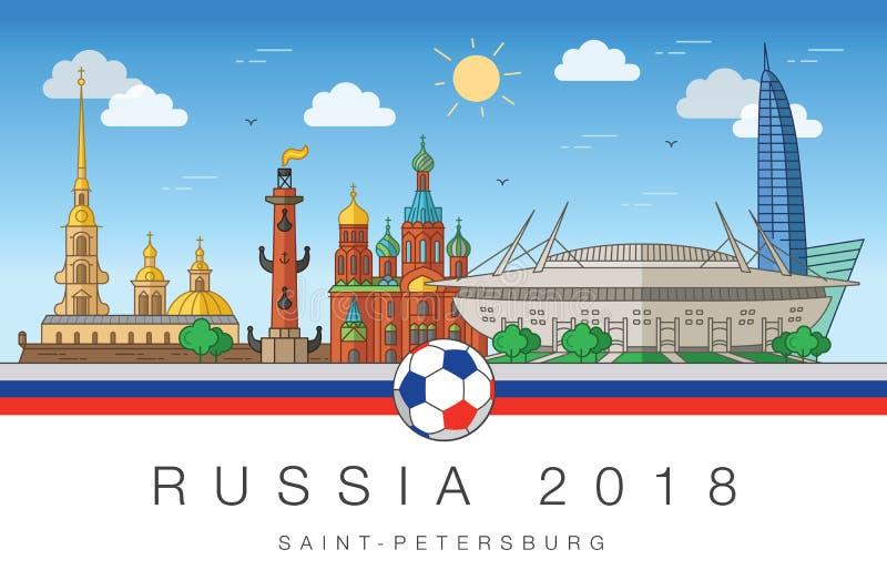Viste della coppa del Mondo 2018 di St Petersburg illustrazione vettoriale