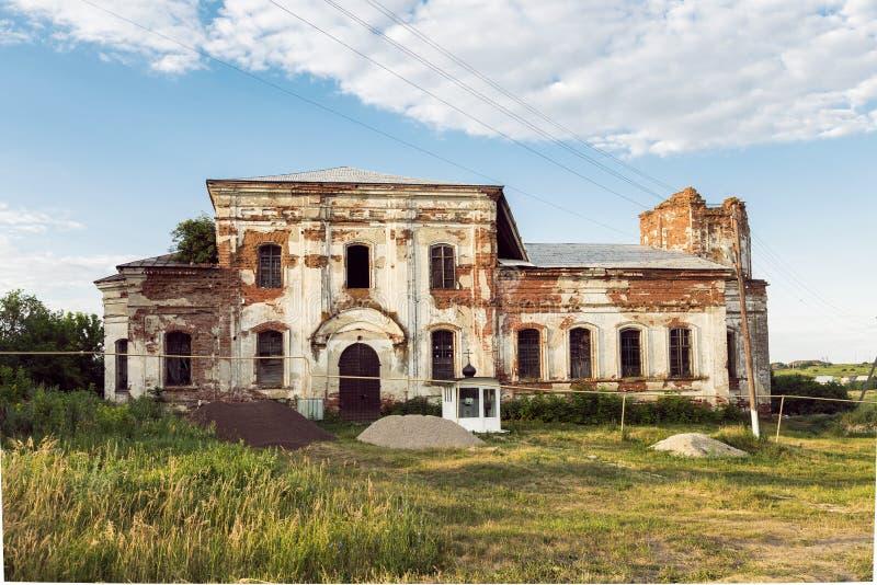 Viste della regione di Saratov Costruzione storica nella regione di Volga di diciannovesimo secolo della Russia 1872 anni Una ser immagine stock libera da diritti
