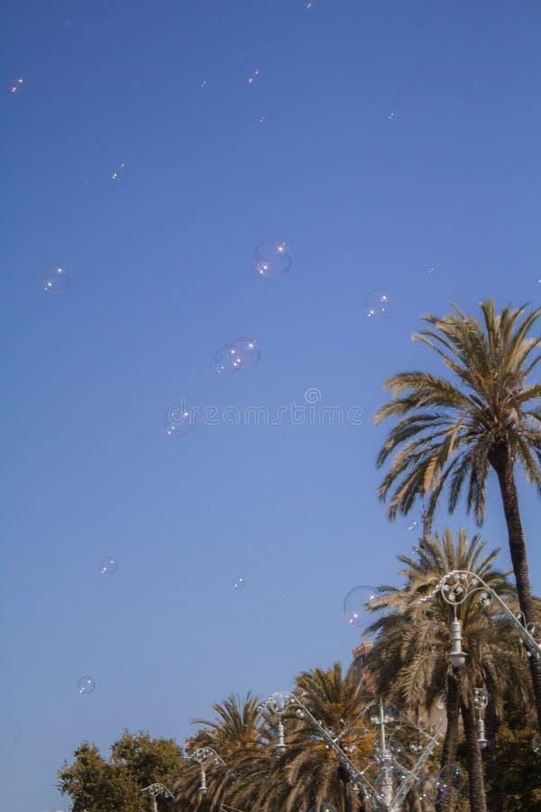 Viste di Barcellona Natura ed elementi fatti dall'essere umano immagine stock