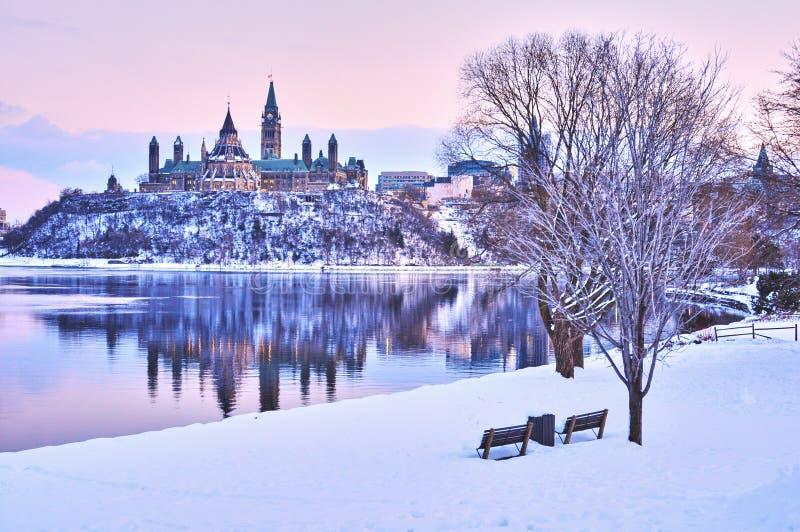Viste di inverno del Canada durante il giorno fotografia stock