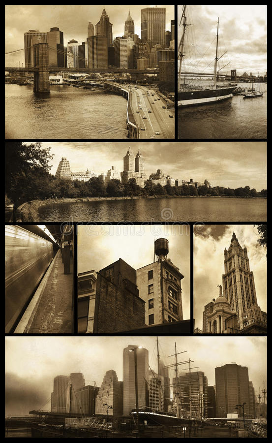 Viste di Manhattan su grunge fotografie stock libere da diritti