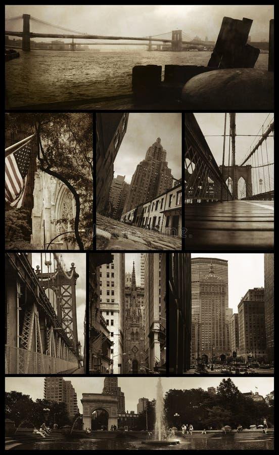 Viste di Manhattan su grunge fotografie stock