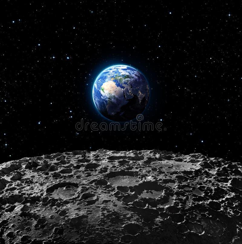 Viste di terra dalla superficie della luna illustrazione di stock