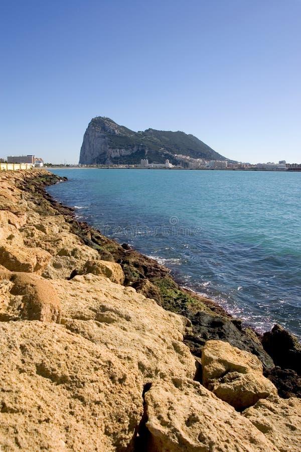 Viste in Gibilterra da La Linea in Spagna fotografia stock libera da diritti