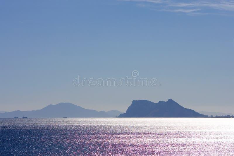 Viste in Gibilterra ed in Africa dalla Spagna immagini stock libere da diritti