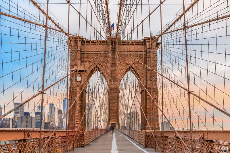 viste sbalorditive del ponte di Brooklyn fotografia stock libera da diritti