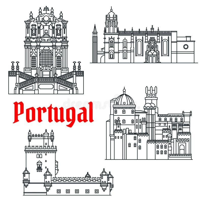 Viste storiche di viaggio dell'icona lineare del Portogallo illustrazione vettoriale