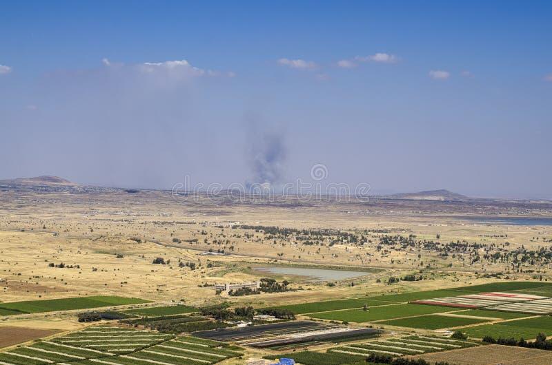 Viste sulla frontiera fra Israele e la Siria immagini stock