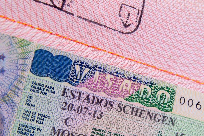 Visto de schengen do espanhol fotografia de stock