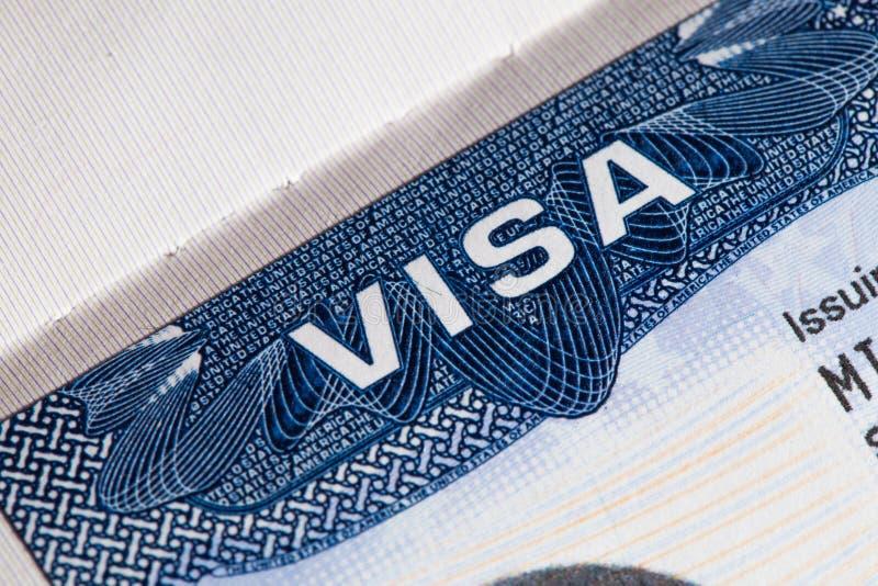 Visto di U.S.A. di viaggio in passaporto fotografia stock libera da diritti