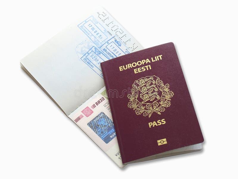 Visto do russo e passaporte estónio fotografia de stock royalty free