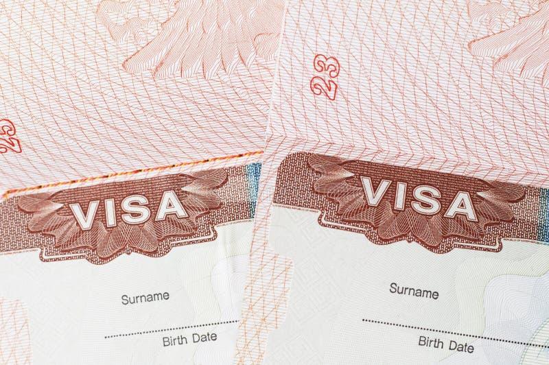 Visto nel primo piano del passaporto, vista superiore del bollo immagine stock libera da diritti