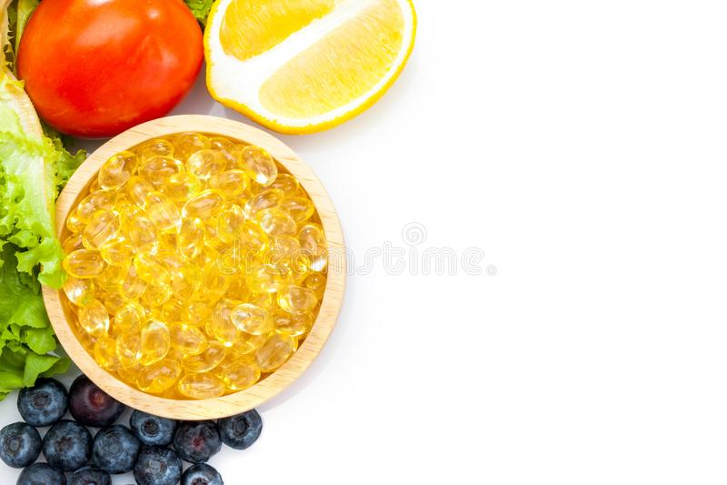 Vistraan, zachte capsule, Omega 3, capsu van de vitamined van het supplementvoedsel stock afbeelding