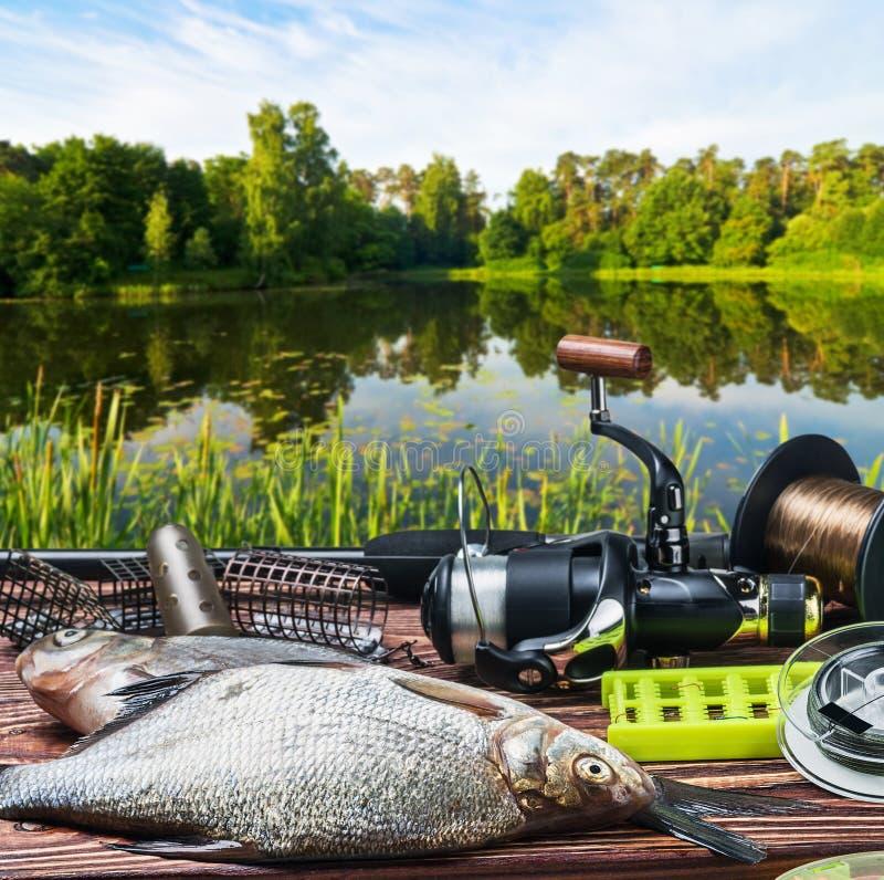 Vistuig en gevangen vissen op de lijst royalty-vrije stock afbeeldingen