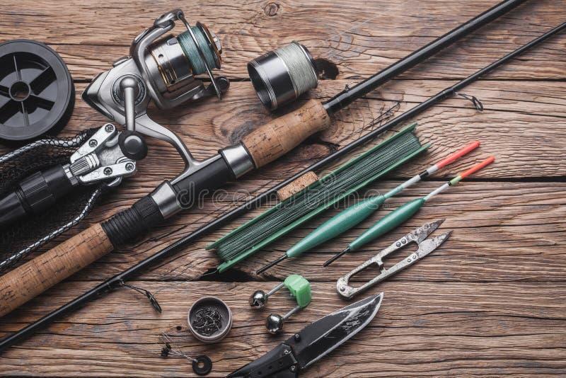 Vistuig voor visserij vreedzame vissen Vlotter, hengel, spoel, vislijn stock afbeelding