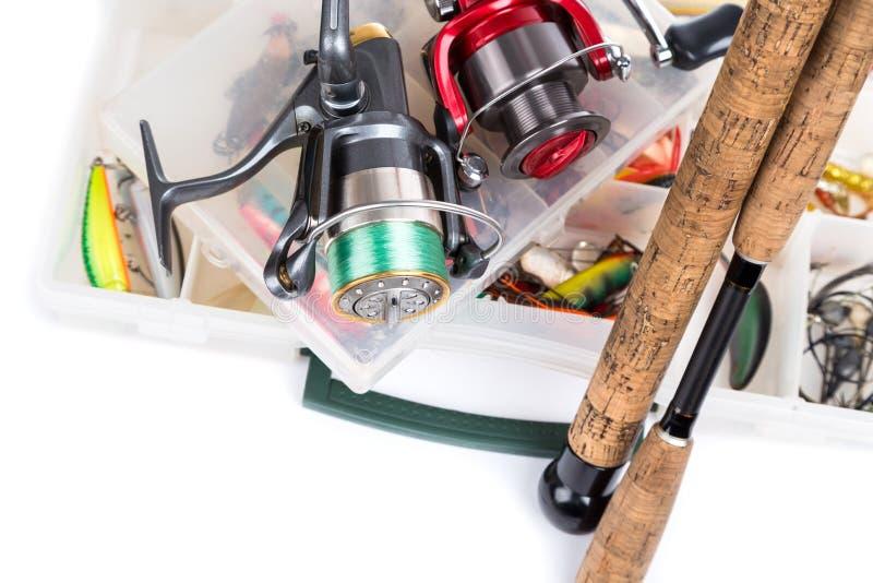 Vistuigen, visserijlokmiddel en visserijaas stock afbeelding