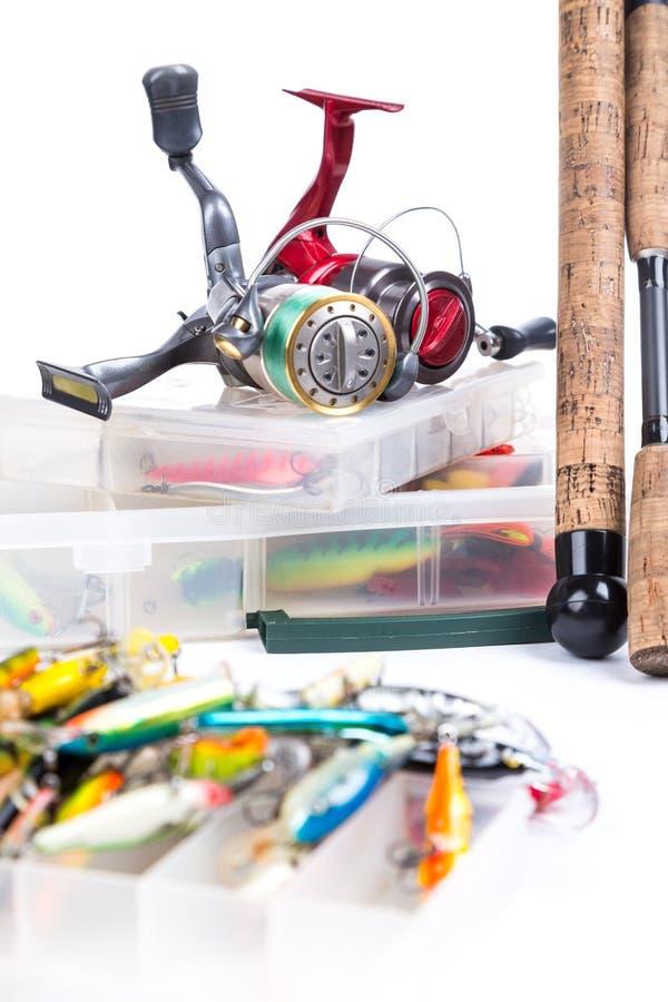 Vistuigen, visserijlokmiddel en visserijaas stock fotografie