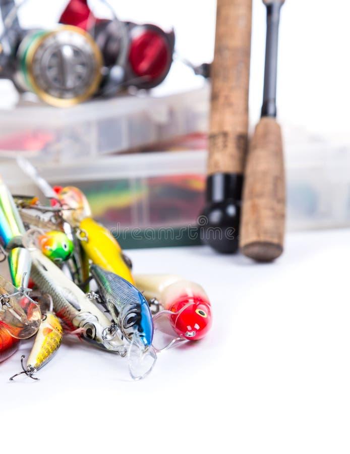 Vistuigen, visserijlokmiddel en visserijaas stock foto