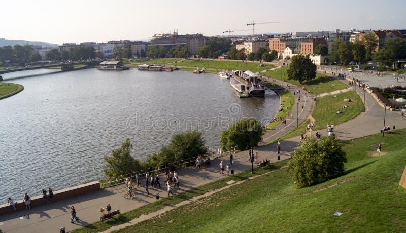 Vistula i krakow arkivbilder