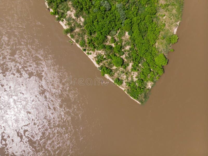 Vistula river near Kepa Kielpinska village, aerial view stock image