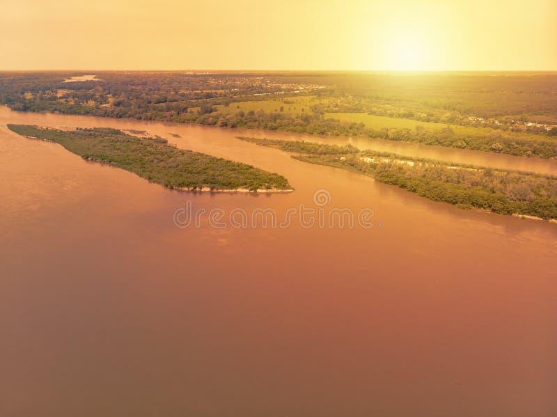 Vistula river near Kepa Kielpinska village, aerial view royalty free stock photos