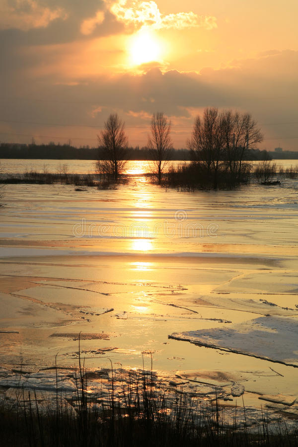 Vistula river in Poland - sunset. royalty free stock image