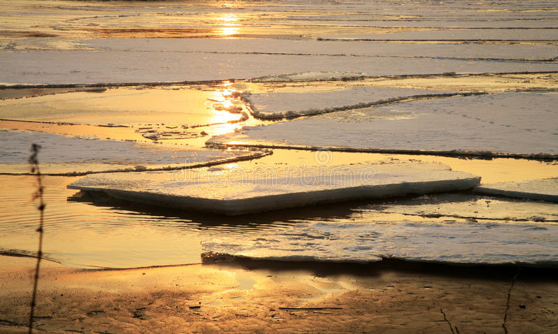 Vistula river in Poland - sunset. stock photo