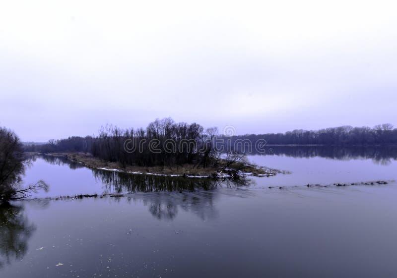 Vistula rzeka w zimie - Nowy Dwor Mazowiecki obraz royalty free