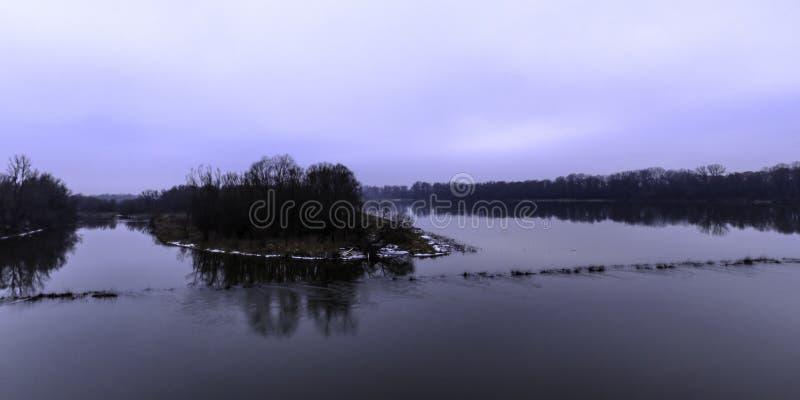 Vistula rzeka w zimie - Nowy Dwor Mazowiecki zdjęcia stock