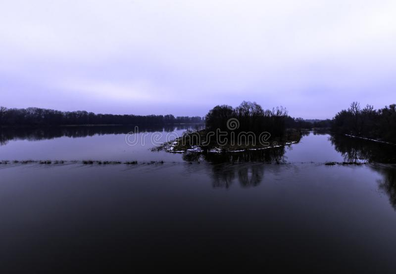 Vistula rzeka w zimie - Nowy Dwor Mazowiecki zdjęcie stock