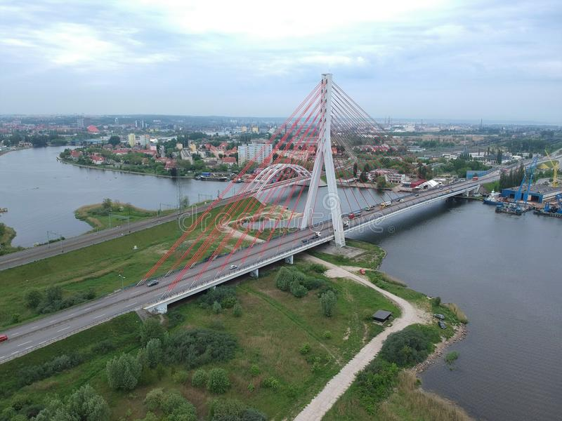 Vistula rzeki dwa mosty zdjęcia royalty free