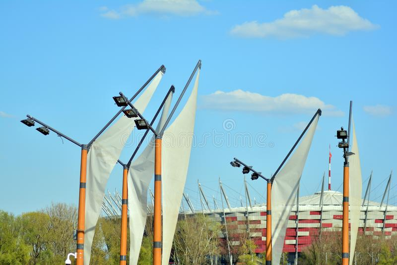 Бульвары Vistulan на западной стороне реки Вислы в Варшаве Прогулка на банке Рекы Висла стоковая фотография rf