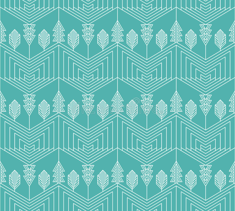 Visual effect seamless geometrical pattern with trees stock illustration